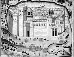 Вид Афонского монастыря Пантократор. Фрагмент литографии. Середина XVIII в.