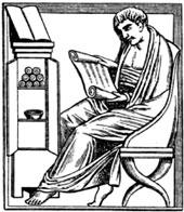 Человек читающий свиток по барельефу