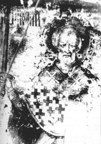 Расстрелянная большевиками икона святого Николая, находившаяся на Никольской башне Московского Кремля