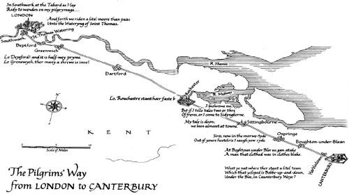 Схема пути паломников из Лондона в Кентербери