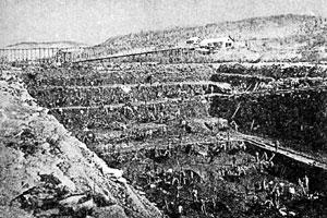 Работа в «разрезе» и промывка золота на Ленских приисках. Фото конца XIX в.
