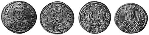 Слева направо: Лев III Исавр (между 675 (685) — 741), Константин V Копроним (718—775), Лев IV Хазар (750—780), Ирина (ок. 752—803)